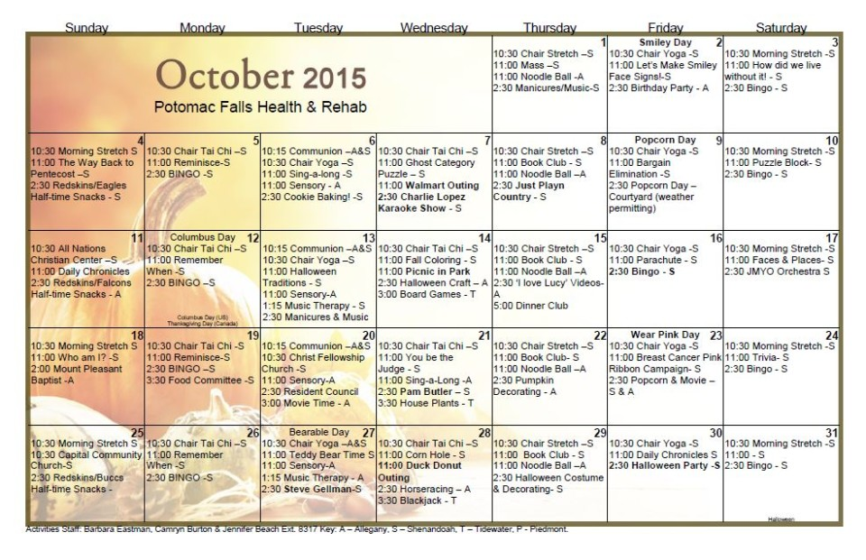 Potomac Falls Health  Rehab Center  October  Activity Calendar