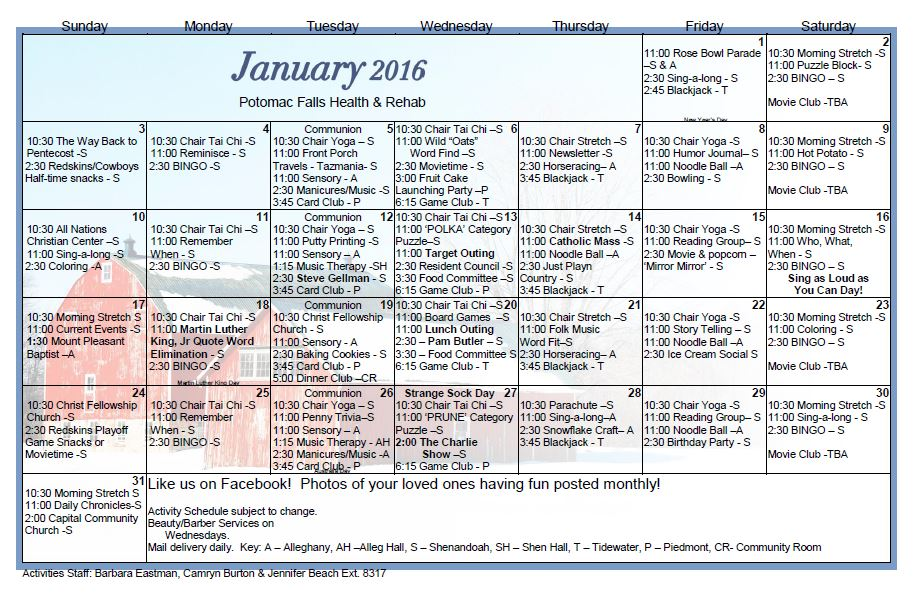 Potomac Falls Health  Rehab Center  January  Activity Calendar