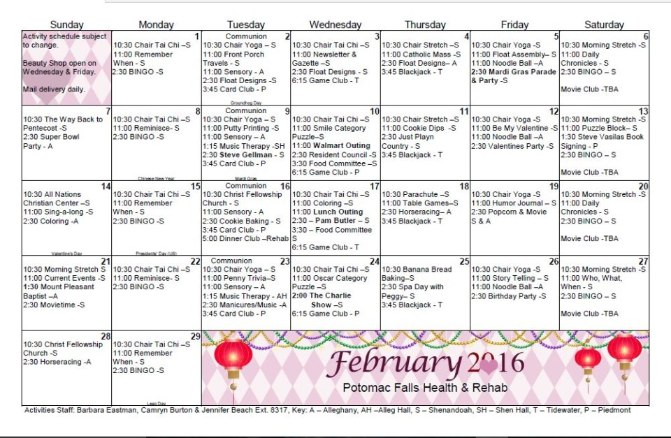 Potomac Falls Health  Rehab Center  February  Activity
