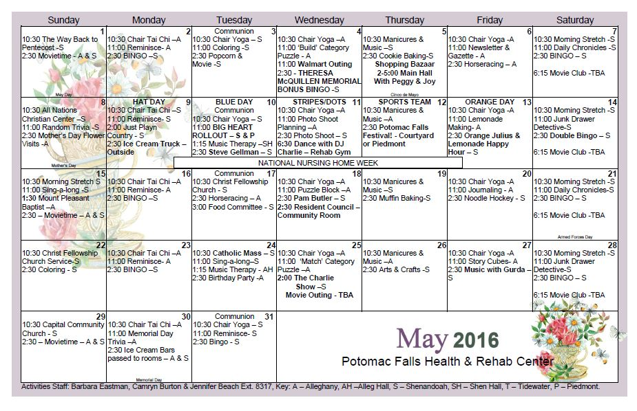 Potomac Falls Health  Rehab Center  May  Activity Calendar
