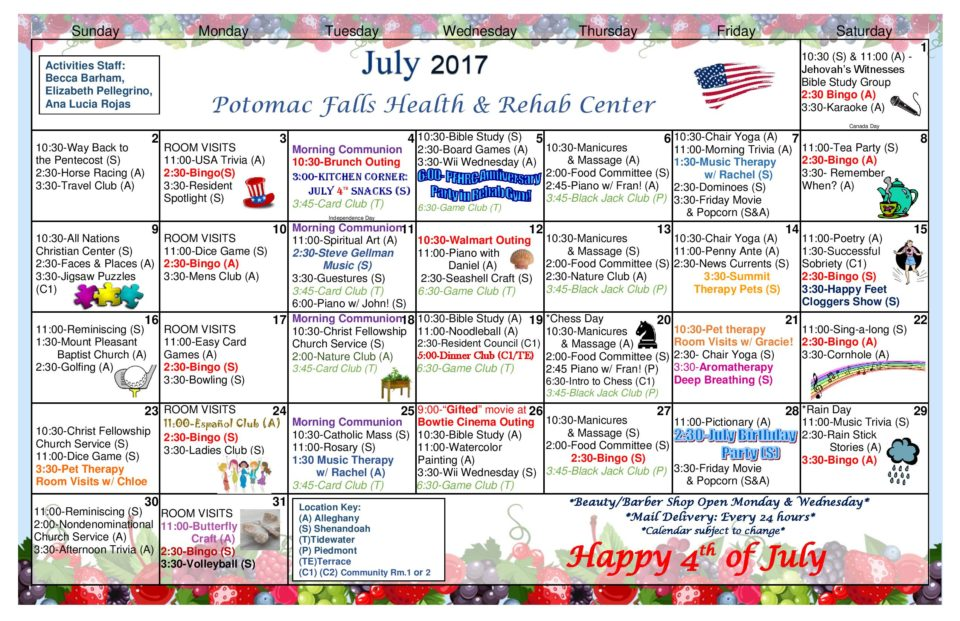 Potomac Falls Health  Rehab Center  July  Activity Calendar