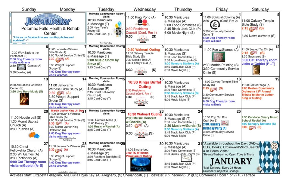 January 2019 Activities Calendar Potomac Falls Health Rehab